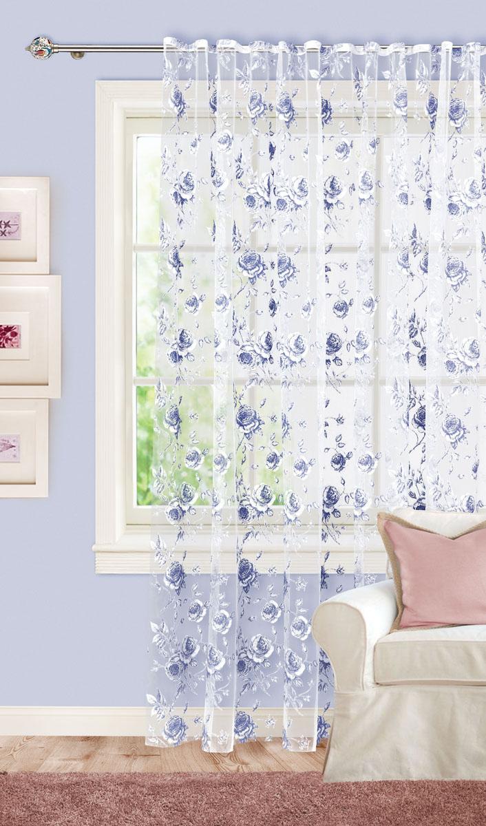 Штора готовая для гостиной Garden, на ленте, цвет: синий, размер300*260 см. С 2187-W260 V7DW90Изящная тюлевая штора Garden выполнена из органзы (65% полиэстера и 35% вискозы). Полупрозрачная ткань, приятная цветовая гамма, цветочный принт привлекут к себе внимание и органично впишутся в интерьер помещения. Такая штора идеально подходит для солнечных комнат. Мягко рассеивая прямые лучи, она хорошо пропускает дневной свет и защищает от посторонних глаз. Отличное решение для многослойного оформления окон. Эта штора будет долгое время радовать вас и вашу семью!Штора крепится на карниз при помощи ленты, которая поможет красиво и равномерно задрапировать верх.