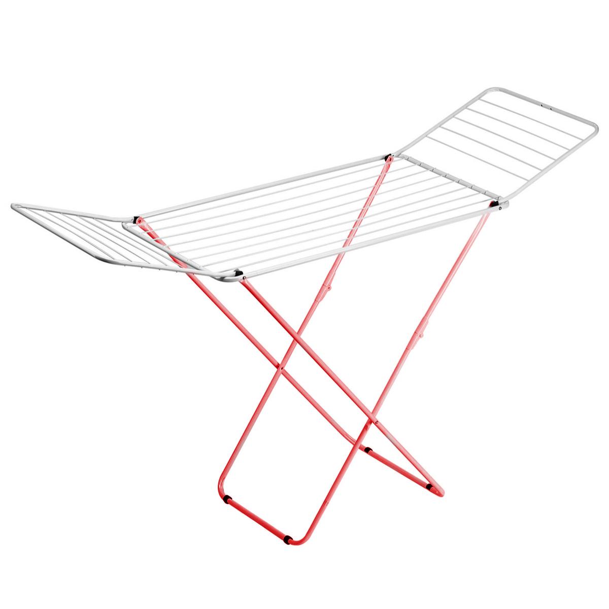 Сушилка для белья Gimi Top, напольная, цвет: белый, красный, 199 см х 55 см х 93 смGC204/30Напольная сушилка для белья Gimi Top проста и удобна в использовании, компактно складывается, экономя место в вашей квартире. Сушилку можно использовать на балконе или дома. Общая длина реек сушилки составляет 20 метров, они выдерживают 2 стандартные загрузки стиральной машины после стирки и отжима. Также сушилка имеет дополнительный держатель для маленьких вещей (носки, платки, перчатки и тому подобное).