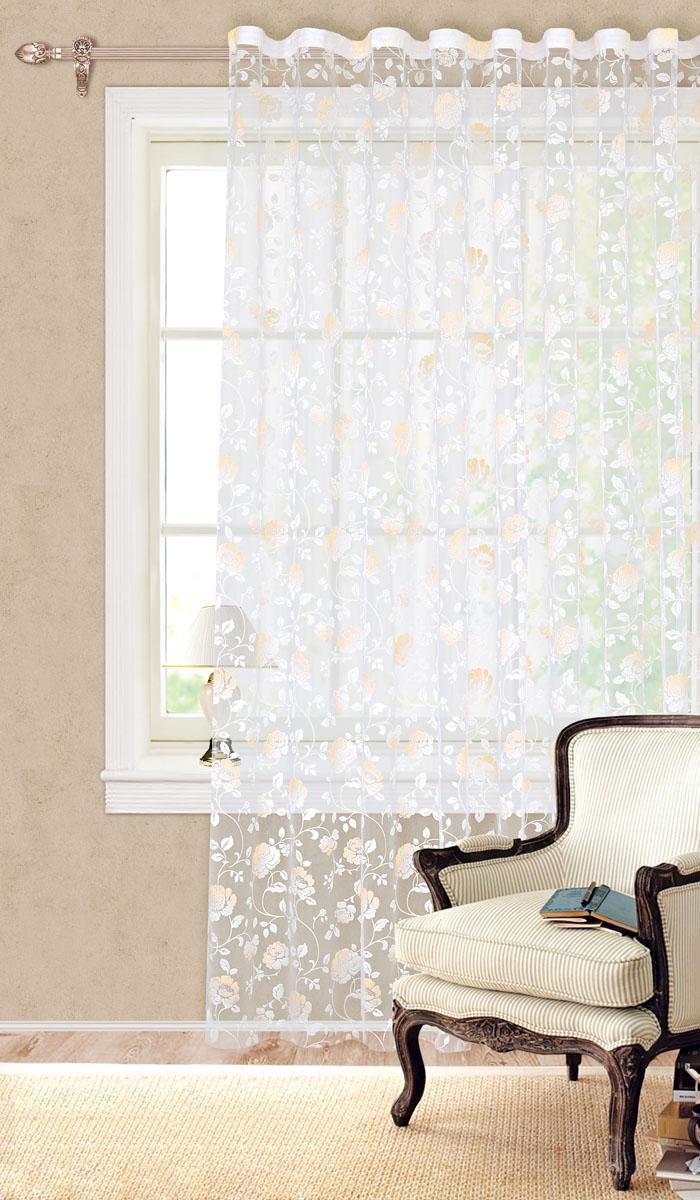 Штора готовая для гостиной Garden, на ленте, цвет: желтый, размер 300*280 см. С 2161 - W260 V10S03301004Готовая тюлевая штора для гостиной Garden выполнена из органзы (100% полиэстер) с изящным цветочным принтом. Полупрозрачность материала, вуалевая текстура и нежная цветовая гамма привлекут к себе внимание и органично впишутся в интерьер комнаты. Штора крепится на карниз при помощи ленты, которая поможет красиво и равномерно задрапировать верх. Штора Garden великолепно украсит любое окно.Стирка при температуре 30°С.