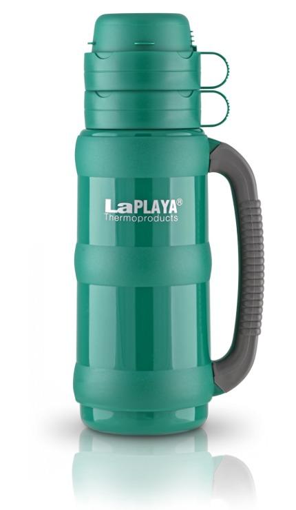 Термос LaPlaya Traditional 35, цвет: зеленый, 1 лVT-1520(SR)Термос LaPlaya Traditional 35 предназначен для супов, горячих и охлажденных напитков. Корпус термоса изготовлен из высококачественного пластика. Внутри термос имеет прочную и надежную стеклянную колбу, которая сохраняет тепло 8 часов, холод - 24 часа.Термос оснащен удобной крышкой, которая разъединяется и может использоваться как две полноразмерные чашки с ручкой.Термос имеет завинчивающуюся пробку, которая служит контейнером для сахара, пакетика чая, кофе, сухого молока.Прорезиненная ручка термоса обеспечивает надежный захват. Высота термоса: 33 см. Диаметр (по верхнему краю): 7 см. Диаметр основания: 10 см.