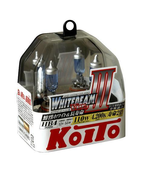 Лампа высокотемпературная Koito Whitebeam 9006 (HB4) 12V 55W (110W) -2 шт. комплект P0757W2615S545JBЯпонская компания KOITO - мировой лидер по производству автомобильных ламп и оптики. Компания основана в 1915 году и в настоящее время входит в корпорацию TOYOTA GROUP и имеет представительства и совместные предприятия по всему миру. Продукция KOITO широко применяется не только для автомобилей, но и для железнодорожных подвижных составов, авиационного и морского транспорта. Компания KOITO выпускает все разновидности лампочек, начиная от ламп головного света и заканчивая подсветкой салона и приборов, для абсолютно всех моделей японских автомобилей и мотоциклов.Компания KOITO выпускает все разновидности ламп и предохранителей для всех моделей японских автомобилей, а также широкий ассортимент для европейских и американских автомобилей. В ассортименте KOITO есть как лампы стандартной комплектации, так и лампы особых серий, таких как VWHITE и WHITEBEAM. Лампы особых серий VWHITE и WHITEBEAM обеспечивают удвоенную яркость при стандартной мощности. Эти лампы соответствуют всем нормам и стандартам, в том числе, и по потребляемой мощности. Эти лампы называются высокотемпературными, потому что при их работе цветовая температура газа достигает 4200 Кельвинов. При этом температура нагрева ламп не превышает допустимые производителем стандартные значения.Выдающиеся качество и надежность лампочек KOITO проверены в таких известных автомобильных состязаниях, как ралли «Париж - Дакар» и 24 - часовые гонки «Ле Манн» и подтверждаются доверием ведущих мировых производителей автомобилей.Напряжение: 12 вольт