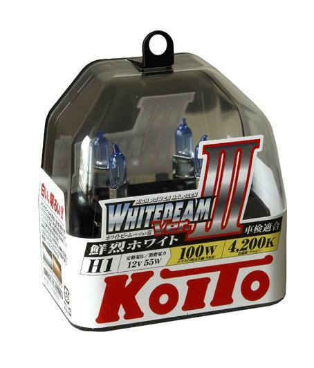 Комплект галогеновых ламп Koito Whitebeam H1, 12V, 55W, 4200 К, 2 штKOITO Лампа автомобильная P0751WЯпонская компания KOITO - мировой лидер по производству автомобильных ламп и оптики. Компания основана в 1915 году и в настоящее время входит в корпорацию TOYOTA GROUP и имеет представительства и совместные предприятия по всему миру. Продукция KOITO широко применяется не только для автомобилей, но и для железнодорожных подвижных составов, авиационного и морского транспорта. Компания KOITO выпускает все разновидности лампочек, начиная от ламп головного света и заканчивая подсветкой салона и приборов, для абсолютно всех моделей японских автомобилей и мотоциклов.Компания KOITO выпускает все разновидности ламп и предохранителей для всех моделей японских автомобилей, а также широкий ассортимент для европейских и американских автомобилей. В ассортименте KOITO есть как лампы стандартной комплектации, так и лампы особых серий, таких как VWHITE и WHITEBEAM. Лампы особых серий VWHITE и WHITEBEAM обеспечивают удвоенную яркость при стандартной мощности. Эти лампы соответствуют всем нормам и стандартам, в том числе, и по потребляемой мощности. Эти лампы называются высокотемпературными, потому что при их работе цветовая температура газа достигает 4200 Кельвинов. При этом температура нагрева ламп не превышает допустимые производителем стандартные значения.Выдающиеся качество и надежность лампочек KOITO проверены в таких известных автомобильных состязаниях, как ралли «Париж - Дакар» и 24 - часовые гонки «Ле Манн» и подтверждаются доверием ведущих мировых производителей автомобилей.Напряжение: 12 вольт