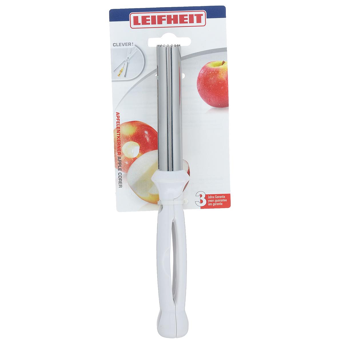 Отделитель сердцевины яблока Leifheit Clever!, цвет: белый, длина 22 см3142Отделитель сердцевины яблока Leifheit Clever! изготовлен из высококачественной нержавеющей стали и оснащен удобными пластиковыми ручками. Ручки снабжены специальными отверстиями для подвешивания.Изделие отлично подходит для вырезания сердцевины из яблок. Практичный и удобный отделитель сердцевины яблока Leifheit Clever! займет достойное место среди аксессуаров на вашей кухне.Можно мыть в посудомоечной машине.