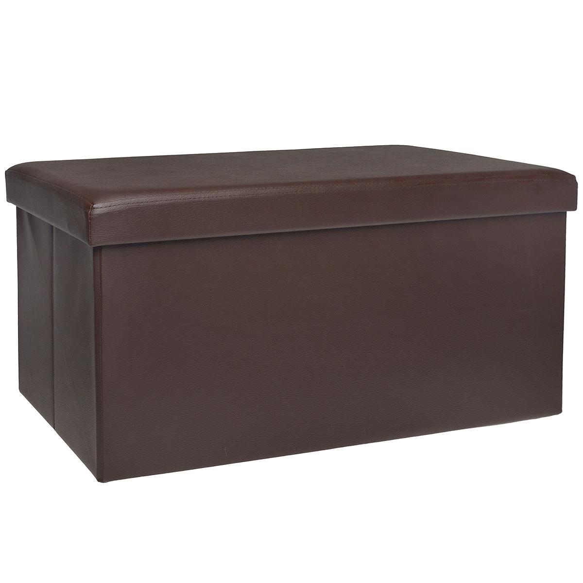 Пуфик Hausmann, с отделением для хранения, цвет: коричневый, 76 x 38 x 38 смCM000001326Пуфик Hausmann- это очень удобная система хранения вещей в виде пуфика (стульчик), выдерживающего до 200 кг. Пуфик выполнен из МДФ и обтянут одноцветной искусственной кожей. Для мягкого сидения верхняя часть набита поролоном. Такой пуфик станет оригинальным объектом интерьера вашей прихожей или комнаты.