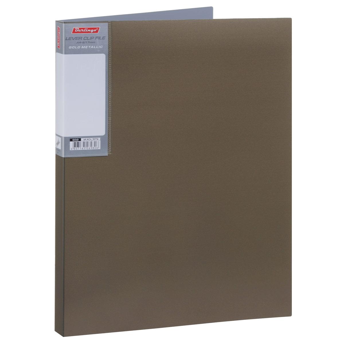 Папка с боковым зажимом Berlingo Metallic, цвет: золотистый. Формат А4AC-1121RDПапка Berlingo Metallic - это удобный и практичный офисный инструмент, предназначенный для бережного хранения и транспортировки без перфорации рабочих бумаг и документов формата А4.Папка изготовлена из плотного пластика толщиной 0,8 см, оснащена не повреждающим бумагу металлическим прижимным механизмом и внутренним прозрачным кармашком, а также дополнена кармашком на корешке со съемной этикеткой для маркировки.Папка надежно сохранит ваши документы и сбережет их от повреждений, пыли и влаги.