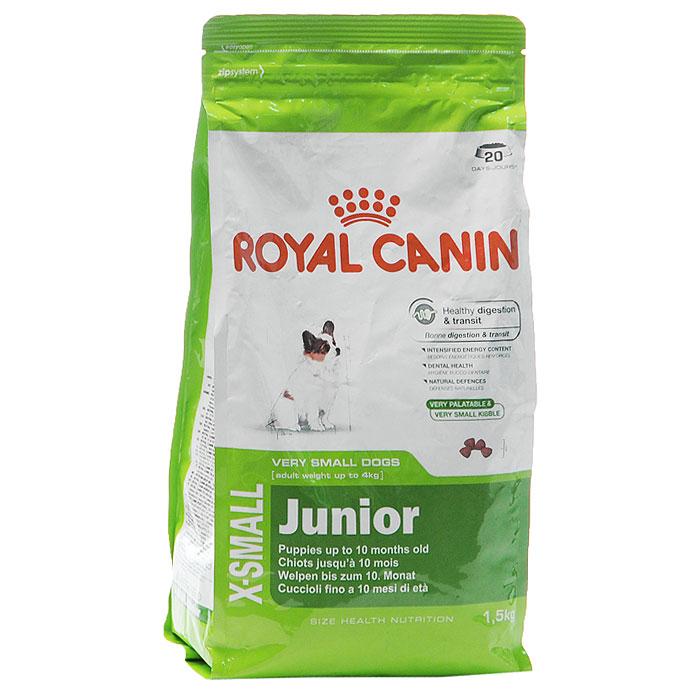 Корм сухой Royal Canin X-Small Junior, для щенков миниатюрных размеров от 2 до 10 месяцев, 500 г314005Сухой корм Royal Canin X-small Junior является полнорационным кормом для щенков очень мелких собак (вес взрослой собаки до 4 кг) в возрасте до 10 месяцев.Период роста у собак миниатюрных размеров краток, но интенсивен, и именно в это время закладывается основа будущего здоровья. Всего за 7-8 недель с момента рождения вес щенка увеличивается в 10 раз! Чтобы обеспечить собаке наилучшее качество жизни, важно с самого начала использовать сбалансированный рацион питания, учитывающий особые потребности щенка.Максимальная защита пищеварительной системы main_benefit-300.pngЭксклюзивная комбинация питательных веществ для оптимальной безопасности пищеварительной системы(белки L.I.P.) и баланса кишечной флоры, а также для поддержания оптимальной консистенции стула у щенков. Высокое содержание энергии.Удовлетворяет энергетические потребности щенков собак миниатюрных размеров в период роста. Обладает высокой вкусовой привлекательностью. Здоровье зубов.Помогает замедлить образование зубного налета благодаря полифосфату натрия, который связывает кальций, содержащийся в слюне.Естественные механизмы защиты.Поддерживает естественные механизмы защиты организма щенков благодаря запатентованному комплексу антиоксидантов и наличию пребиотиков. Маленькие крокеты разработаны специально для крошечных челюстей собак миниатюрных размеров, а их эксклюзивная формула привлекательна даже для собак, особенно привередливых в питании.Состав: дегидратированное мясо птицы, рис, кукуруза, животные жиры, изолят растительных белков, кукурузная клейковина, гидролизат белков животного происхождения, свекольный жом, минеральные вещества, соевое масло, оболочка и семена подорожника 1%, рыбий жир, фруктоолигосахариды, гидролизат дрожжей (источник маннановых олигосахаридов), экстракт бархатцев прямостоячих (источник лютеина).Пищевые добавки на 1 кг: витамин А 21800 МЕ, витамин D3 1000 МЕ, железо 46 мг, йод 4,6