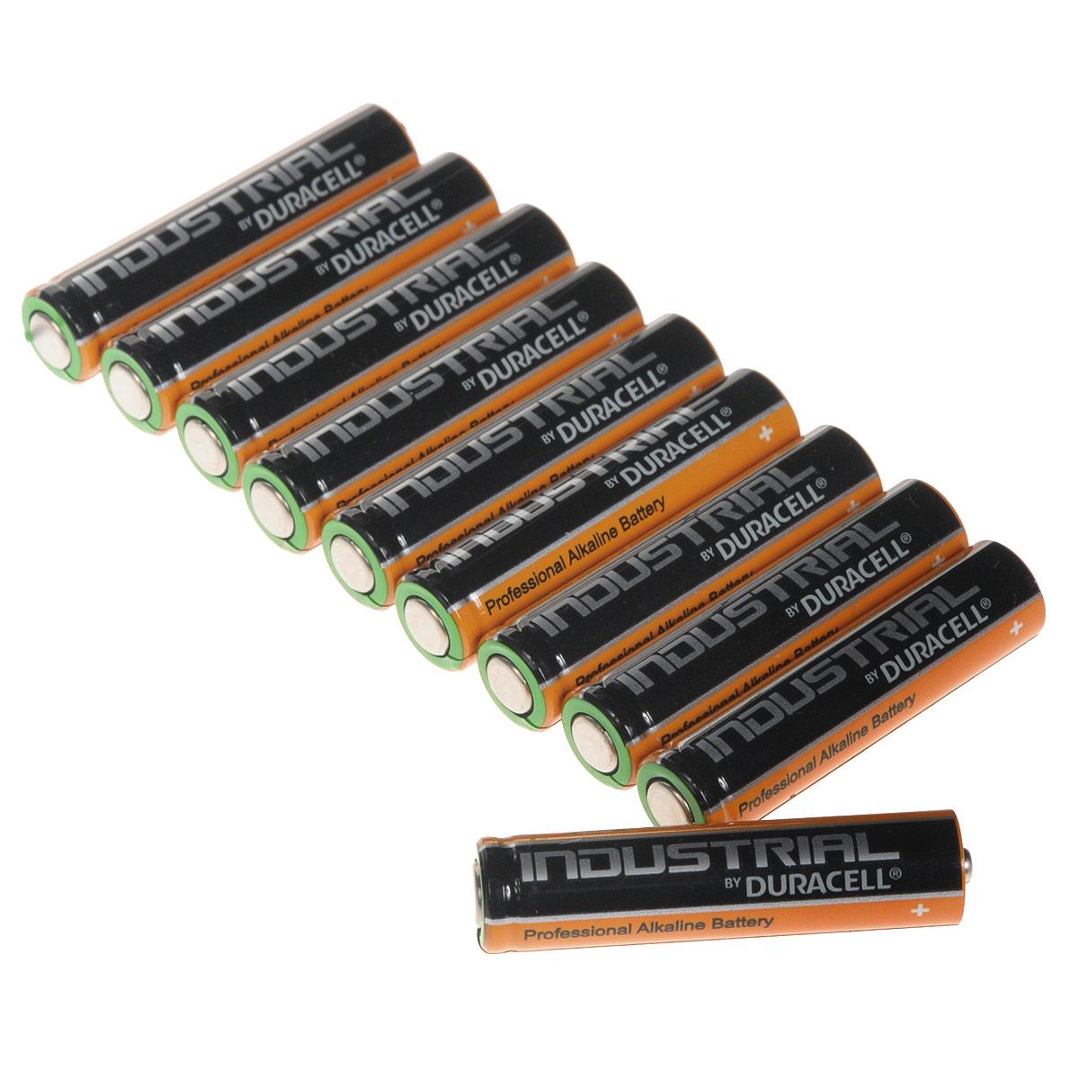Набор алкалиновых батареек Duracell Industrial, тип AAA, 10 шт1652Набор алкалиновых батареек Duracell Industrial предназначен для использования в различных электронных устройствах небольшого размера, например в пультах дистанционного управления, портативных MP3-плеерах, фотоаппаратах, различных беспроводных устройствах.