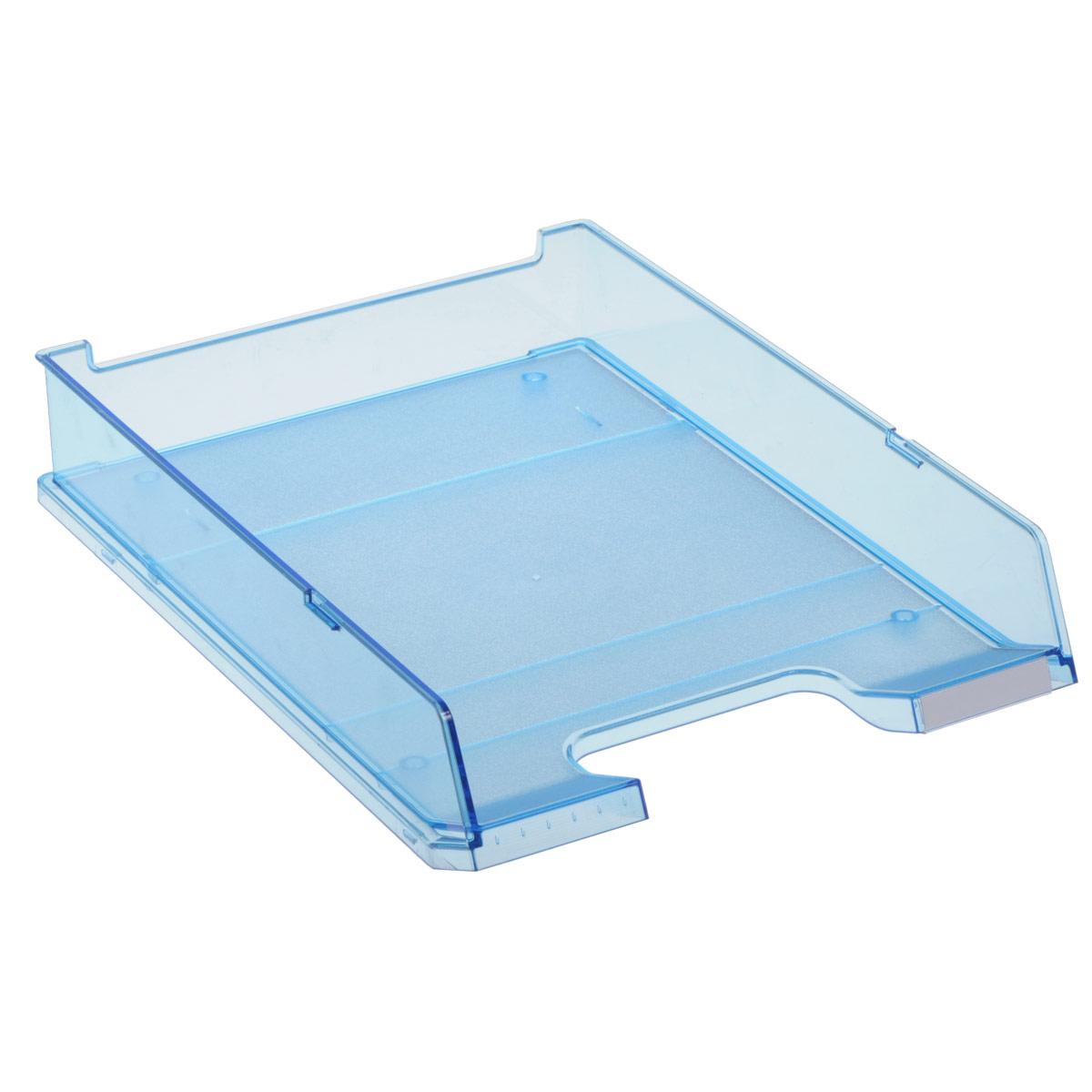 Лоток для бумаг горизонтальный HAN C4, прозрачный, цвет: голубойFS-54100Горизонтальный лоток для бумаг HAN C4 предназначен для хранения бумаг и документов формата А4. Лоток с оригинальным дизайном корпуса поможет вам навести порядок на столе и сэкономить пространство.Лоток изготовлен из экологически чистого прозрачного антистатического пластика. Приподнятая фронтальная часть лотка облегчает изъятие документов из накопителя. Лоток имеет пластиковые ножки, предотвращающие скольжение по столу. Также лоток оснащен небольшим прозрачным окошком для этикетки. Лоток для бумаг станет незаменимым помощником для работы с бумагами дома или в офисе, а его стильный дизайн впишется в любой интерьер. Благодаря лотку для бумаг, важные бумаги и документы всегда будут под рукой.Несколько лотков можно ставить друг на друга, один в другой и друг на друга со смещением.