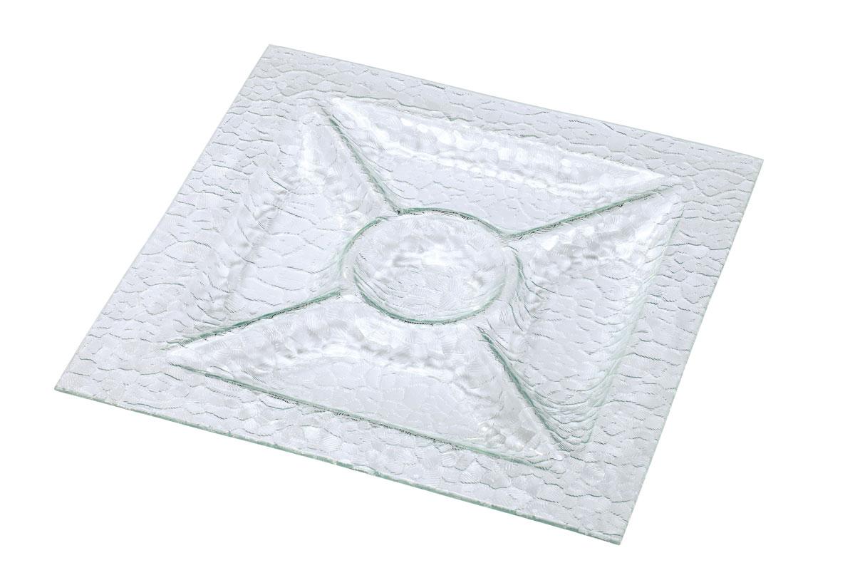 Менажница Bekker, 5 отделений, 36 х 36 см115510Менажница Bekker выполнена из высококачественного стекла и оформлена изысканным рельефом, который придает изделию роскошный внешний вид. Менажница имеет 5 отделений для подачи различных закусок, соусов, салатов и т.д. Менажница Bekker красиво оформит сервировку стола, идеальный вариант для торжественных случаев. Подходит для чистки в посудомоечной машине.Размер менажницы: 36 см х 36 см х 2,5 см. Размер секции: 24 см х 9 см; 10 см х 10 см.
