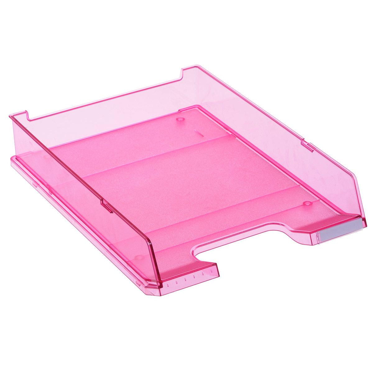 Лоток для бумаг горизонтальный HAN C4, прозрачный, цвет: малиновыйFS-54100Горизонтальный лоток для бумаг HAN C4 предназначен для хранения бумаг и документов формата А4. Лоток с оригинальным дизайном корпуса поможет вам навести порядок на столе и сэкономить пространство.Лоток изготовлен из экологически чистого прозрачного антистатического пластика. Приподнятая фронтальная часть лотка облегчает изъятие документов из накопителя. Лоток имеет пластиковые ножки, предотвращающие скольжение по столу. Также лоток оснащен небольшим прозрачным окошком для этикетки. Лоток для бумаг станет незаменимым помощником для работы с бумагами дома или в офисе, а его стильный дизайн впишется в любой интерьер. Благодаря лотку для бумаг, важные бумаги и документы всегда будут под рукой.Несколько лотков можно ставить друг на друга, один в другой и друг на друга со смещением.