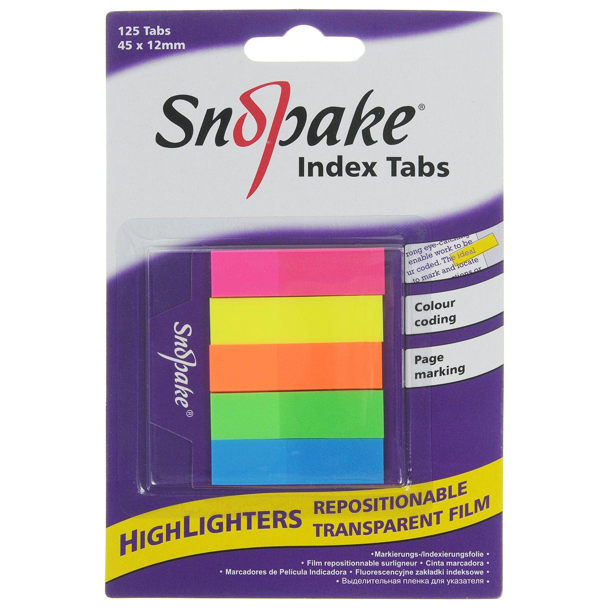 Закладка самоклеящаяся Snopake Index Tab, 4,5 см х 1,2 см, 125 шт2010440Самоклеящаяся закладка Index Tab станет вашим верным помощником дома и в офисе, и пригодится не только любителям чтения, но и тем, кто работает с большими объемами документов. Яркие закладки розового, желтого, оранжевого, зеленого и синего цветов позволяют не только отметить или выделить нужное место в книге или документе, но и снабдить его своими записями. Закладки совершенно прозрачны и не закрывают текст и могут применяться как безопасная для бумаги альтернатива маркерам-выделителям. Уникальный клеевой состав, нанесенный на закладку, позволяет многократно переклеивать ее, не повреждая при этом страницу. В комплект входят 125 закладок.Самоклеящаяся закладка Index Tab станет практичным офисным или домашним инструментом и поможет вам упорядочить информацию, не повреждая бумагу.