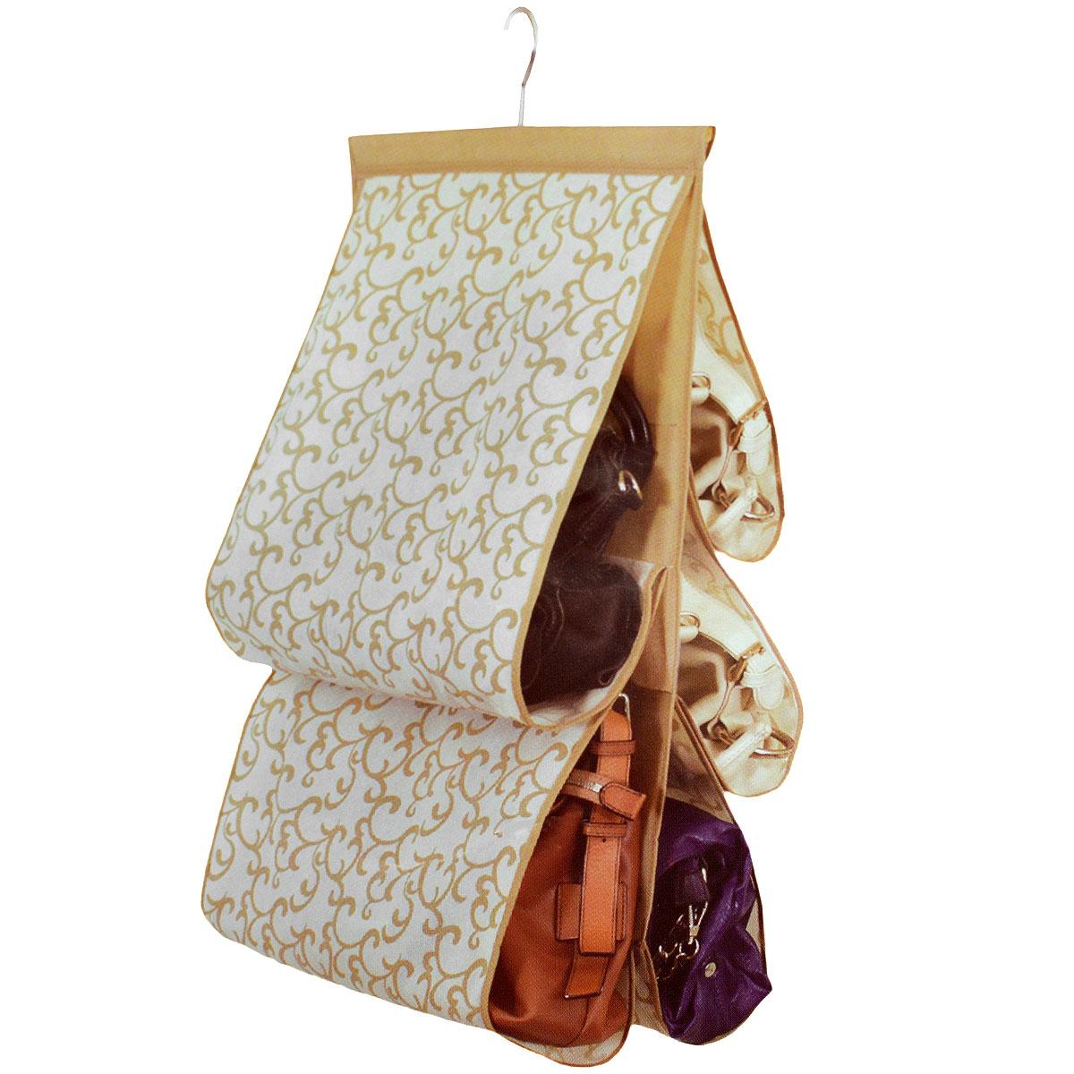 Чехол для хранения сумок Hausmann, 42 х 72 смES-412Чехол для хранения сумок Hausmann изготовлен из полиэстера. Чехол имеет 5 отделений. Чехол можно повесить в удобное место за крючок, который крепиться к деревянной перекладине. Чехол для хранения сумок Hausmann экономит место в шкафу и сохраняет порядок в доме. Практичный и удобный чехол для хранения сумок.
