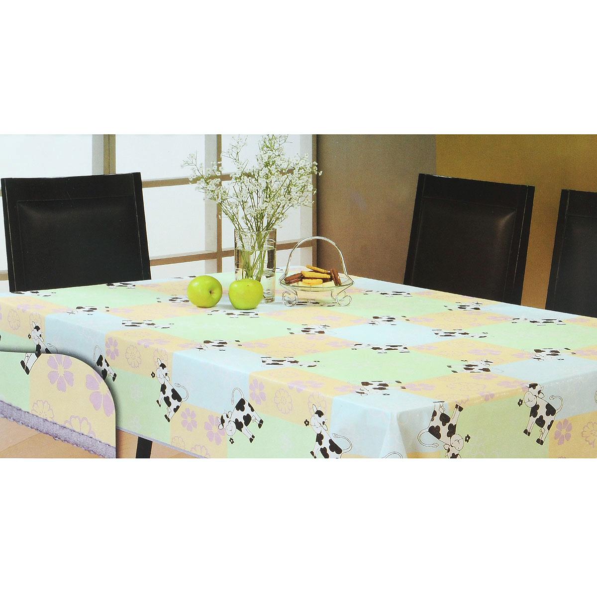Скатерть White Fox Буренка, прямоугольная, цвет: голубой, светло-зеленый, 152x 228 смВетерок 2ГФПрямоугольная скатерть White Fox Буренка, выполненная из ПВХ с основой из флиса, предназначена для защиты стола от царапин, пятен и крошек. Край скатерти обработан строчкой. Скатерть оформлена изображением милых коров, а рифлёная поверхность формирует приятные тактильные ощущения, при этом частички пищи удаляются с легкостью и поверхность остается всегда чистой. Скатерть термостойкая, выдерживает температуру до +70 °C.Скатерть White Fox проста в уходе - её можно протирать любыми моющими средствами при необходимости.Скатерть упакована в виниловый пакет с внутренним цветным вкладышем и подвесом в виде крючка.
