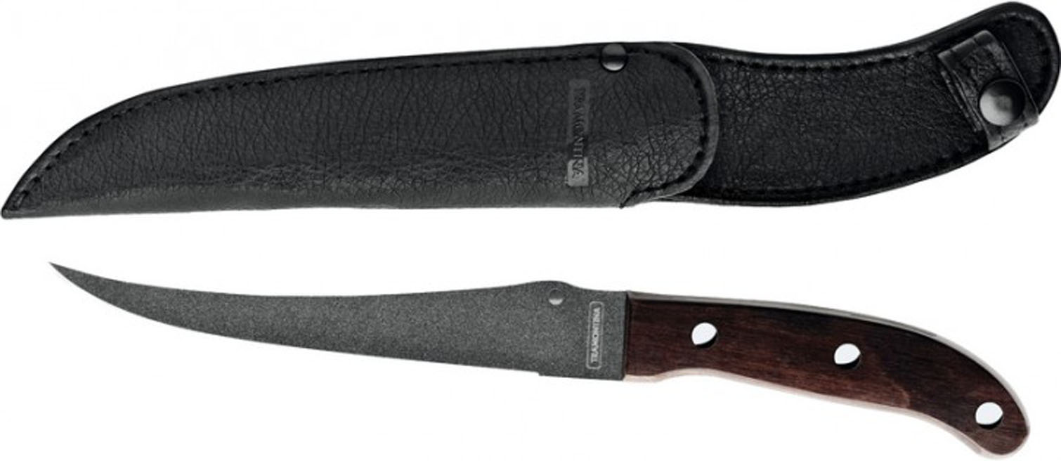 Нож рыбака Tramontina Fish, с чехлом, длина лезвия 17,5 см1014200Нож Tramontina Fish станет надежным помощником для рыбака. Оригинальная и практичная рукоятка выполнена из твердых пород древесины. Лезвие ножа изготовлено из высококачественной инструментальной нержавеющей стали с Starflon Plus покрытием. В комплект входит чехол из искусственной кожи с петлей, за которую нож можно подвесить на ремень.Нож Tramontina Fish займет достойное место среди аксессуаров в вашем доме или в походе. Общая длина ножа: 28 см.Материал чехла: искусственная кожа.