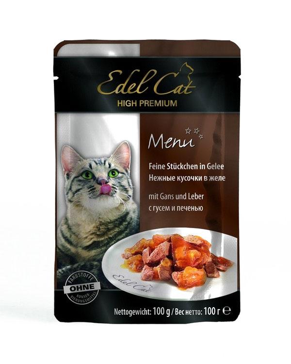 Консервы для кошек Edel Cat, с гусем и печенью в желе, 100 г17161Консервы Edel Cat со вкусом гуся и печени, являются сытным и полезным лакомством. Немецкие специалисты тщательным образом подбирали ингредиенты с учетом всех возрастных особенностей кошек. В результате был изготовлен продукт, который не просто удовлетворяет суточную потребность в пище, но лакомство, оказывающее благотворное воздействие на организм домашних питомцев. За счет витаминов укрепляется иммунная система ваших питомцев. Чарующий корм Edel Cat сведет с ума любую кошку своим изумительным вкусом. Корм сделан на основе печени и гуся. Эти деликатесные мясные кусочки в желе привлекут внимание даже самых привередливых пушистых питомцев. В консервы можно добавлять каши и сухой корм, но можно подавать и в чистом виде.Состав: мясо и мясопродукты (5% гуся, 5% печени), минеральные вещества, инулин (0,1%).Аналитический состав: влажность 82%, сырой протеин - 8,5%, сырой жир - 4,5%, зола - 2%, клетчатка - 0,3%.Пищевые добавки на кг: витамин ДЗ 250 МЕ, цинк (сульфат цинка, моногидрат) 18 мг, витамин Е (альфа-токоферолацетат) 15 мг, медь (сульфат меди II, пентагидрат) 1 мг, марганец (сульфат марганца II, моногидрат) 1 мг. Товар сертифицирован.