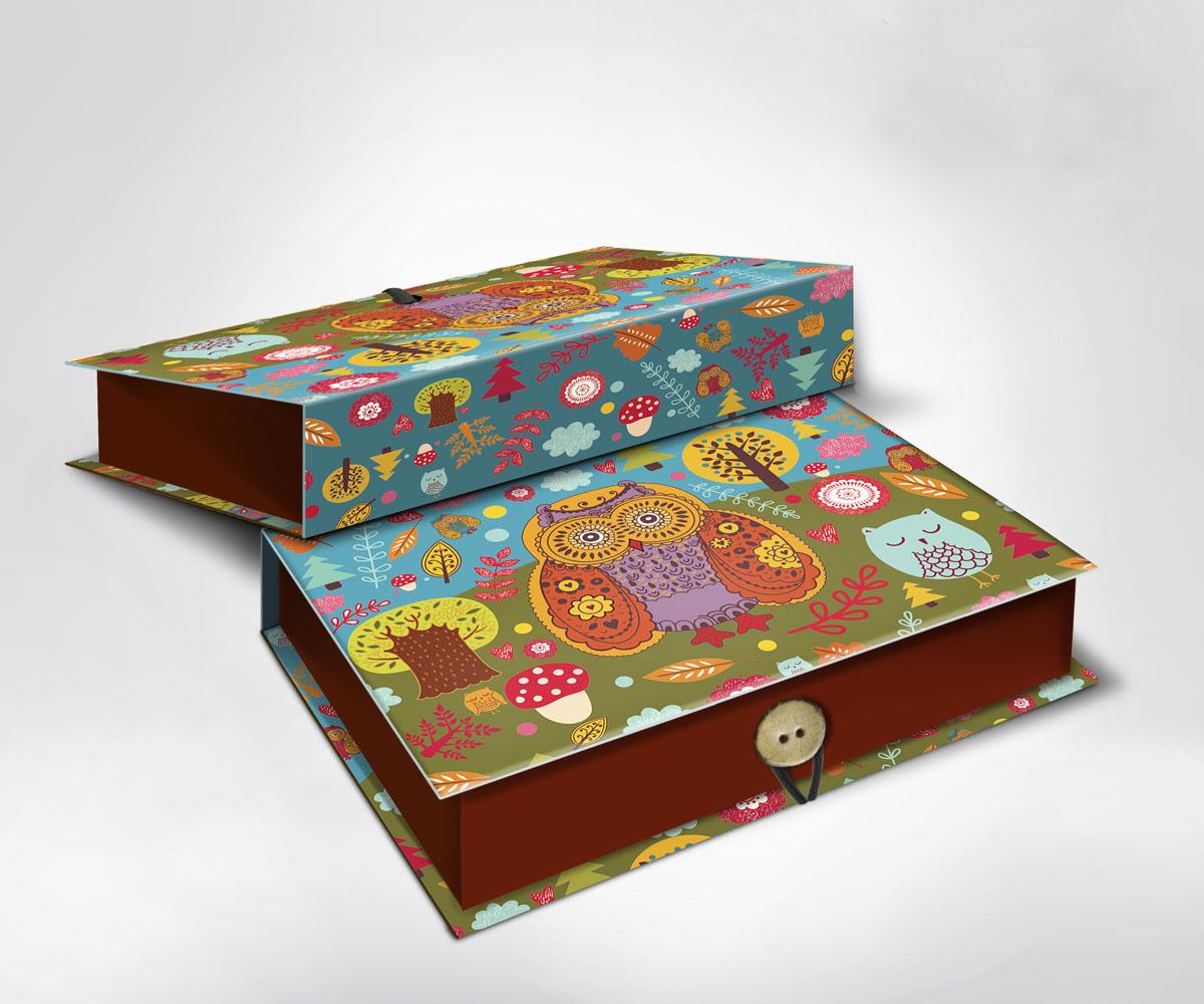 Подарочная коробка Совушки, 18 см х 12 см х 5 см7707995Подарочная коробка Совушки выполнена из плотного картона. Крышка оформлена ярким изображением забавных сов. Коробка закрывается на пуговицу.Подарочная коробка - это наилучшее решение, если вы хотите порадовать ваших близких и создать праздничное настроение, ведь подарок, преподнесенный в оригинальной упаковке, всегда будет самым эффектным и запоминающимся. Окружите близких людей вниманием и заботой, вручив презент в нарядном, праздничном оформлении.