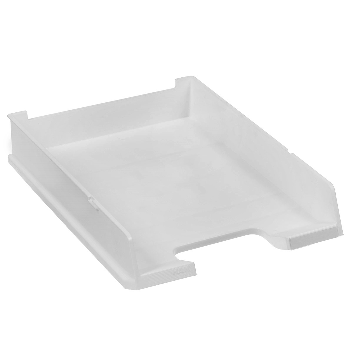 Лоток для бумаг горизонтальный HAN C4, цвет: светло-серый0410-0044-05Горизонтальный лоток для бумаг HAN C4 предназначен для хранения бумаг и документов формата А4. Лоток с оригинальным дизайном корпуса поможет вам навести порядок на столе и сэкономить пространство.Лоток изготовлен из экологически чистого непрозрачного антистатического пластика. Приподнятая фронтальная часть лотка облегчает изъятие документов из накопителя. Лоток имеет пластиковые ножки, предотвращающие скольжение по столу. Также лоток оснащен небольшим прозрачным окошком для этикетки. Лоток для бумаг станет незаменимым помощником для работы с бумагами дома или в офисе, а его стильный дизайн впишется в любой интерьер. Благодаря лотку для бумаг, важные бумаги и документы всегда будут под рукой.Несколько лотков можно ставить друг на друга, один в другой и друг на друга со смещением.