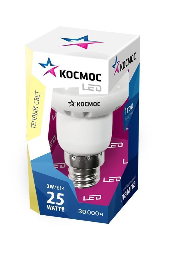 Светодиодная лампа Kosmos, теплый свет, цоколь E14, 3W, 220V Lksm LED3wR39E1430C0038550Светодиодное устройство КОСМОС R39 3Вт 220В E14 3000K (Lksm LED3wR39E1430) обладает рефлекторным типом колбы. Лампа рассчитана на номинальное напряжение в 220 Вольт. Характеризуется теплым белым свечением 3000К. Эксплуатационный срок модели составляет 50000 часов. Не требует утилизации. Способна заменить обычную лампу накаливания мощностью в 25 Ватт.