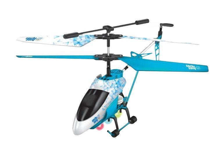 Sochi 2014 GT5604 - официально лицензированный вертолет. Модель оснащена 3-канальным управлением и гироскопом. Благодаря этому он может удерживать равновесие даже во время сложных маневров. Вертолет изготовлен из прочного металла и имеет привлекательный внешний вид - за счет удачного сочетания голубого и белого цветов.