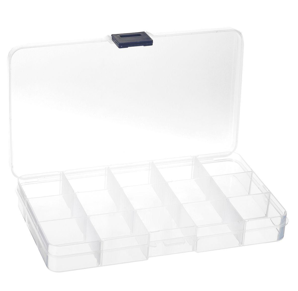 Контейнер для мелочей, 17,6 х 10,2 х 2,2 см 528RG-D31SКонтейнер для мелочей изготовлен из прозрачного пластика, что позволяет видеть содержимое. Внутри содержится 15 ячеек для хранения мелких принадлежностей. Крышка плотно закрывается. Такой контейнер поможет держать вещи в порядке. Идеально подходит для хранения принадлежностей для шитья и других мелких бытовых предметов.