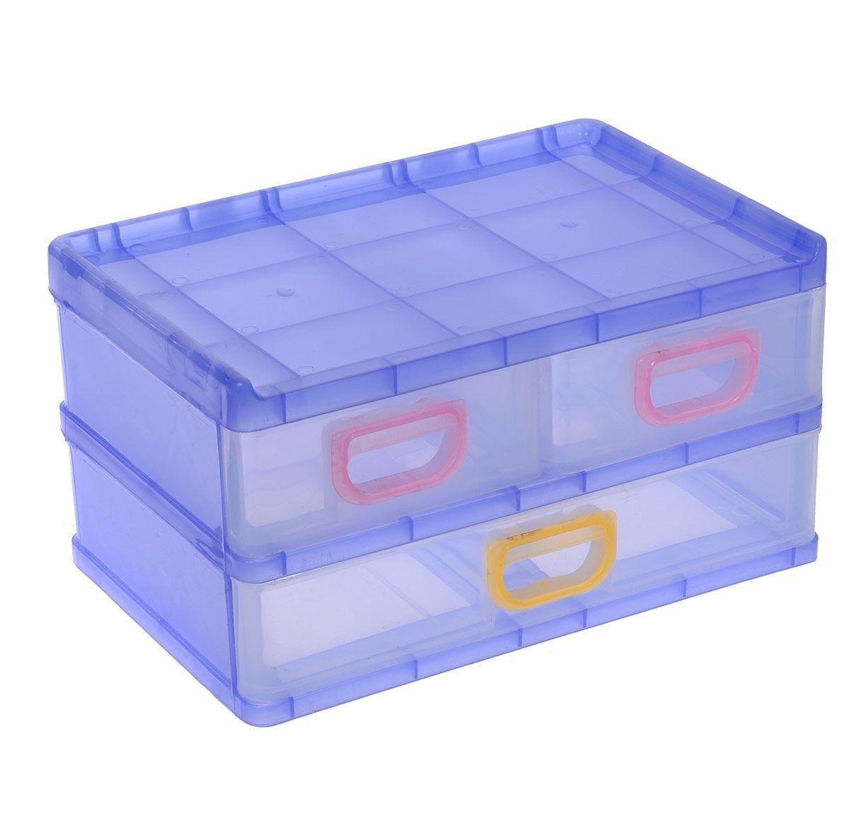 Контейнер для мелочей, цвет: сиреневый, 26 х 17 х 13,5 см 531696RG-D31SКонтейнер для мелочей изготовлен из пластика синего цвета. Изделие содержит три выдвижных ящичка, где можно хранить швейные принадлежности, рыболовные снасти, мелкие детали и другие бытовые мелочи. Ящички прозрачные, что позволяет видеть их содержимое. Такой контейнер поможет держать вещи в порядке.
