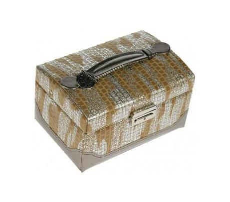 Шкатулка для ювелирных украшений CALVANI 16*10*11см 8335225051 7_желтыйШкатулка Русские подарки CALVANI 83352 для хранения ювелирных украшений не оставит равнодушной ни одну любительницу изысканных вещей. На внутренней стороне крышки расположено небольшое удобное зеркальце. Сочетание оригинального дизайна и функциональности сделает такую шкатулку практичным, стильным подарком и предметом гордости ее обладательницы. Материал: кож. зам., картон, текстиль, стекло; цвет: бежевый