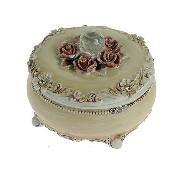 Шкатулка Розы, цвет: бежевый, 9 см х 9 см х 6 см. 224845 шкатулка для украшений umbra trinity цвет белый 13 9 х 13 9 х 8 9 см