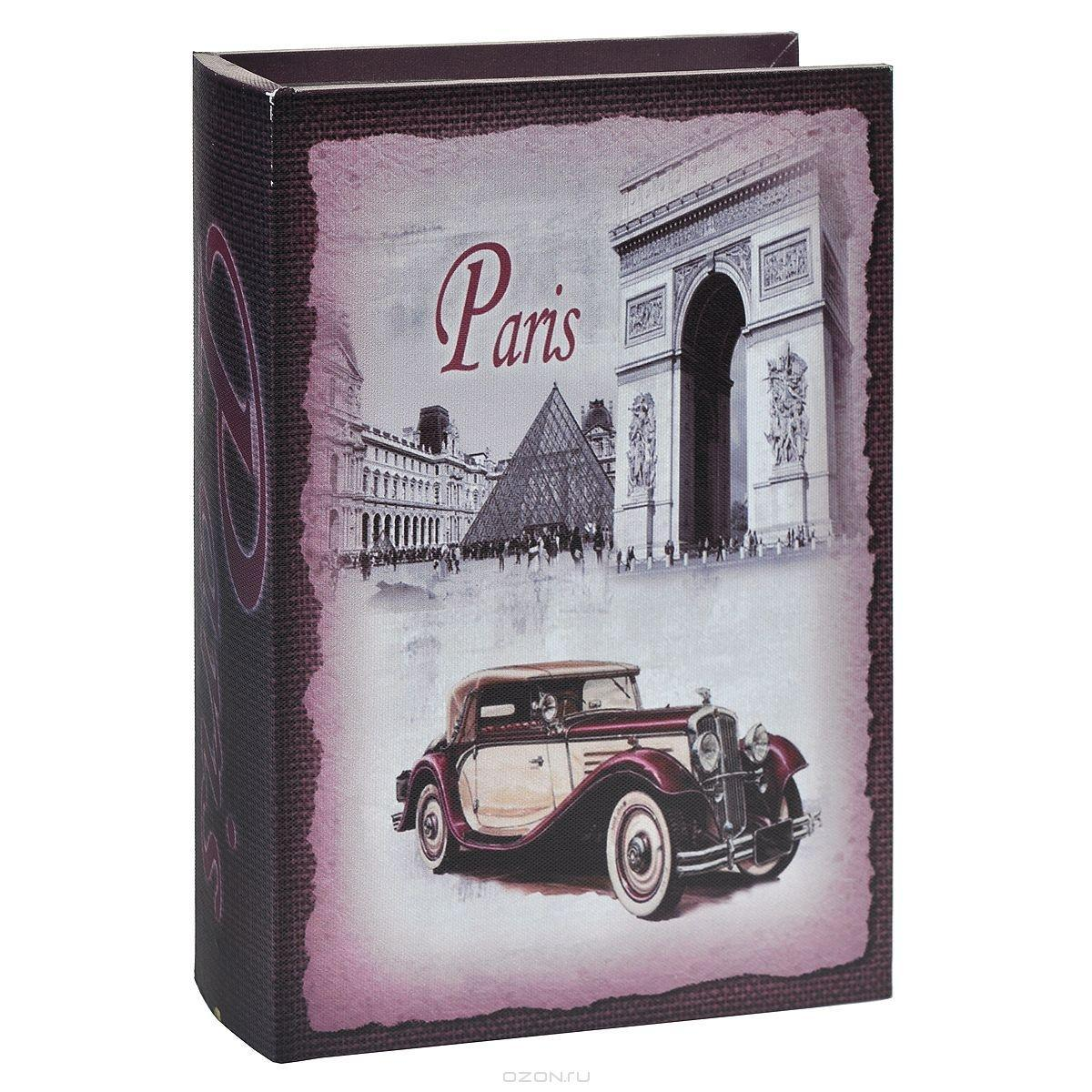 Шкатулка декоративная Paris, 27 см х 18 см х 4,5 см. 7701689-120530Декоративная шкатулка Paris не оставит равнодушной ни одну любительницу изысканных вещей. В такой шкатулке удобно хранить бижутерию или аксессуары для рукоделия. Вместительная шкатулка, выполнена из МДФ с отделкой из текстиля и оформлена изображением автомодиля на фоне Лувра. Внутри - отделка из полиэстера. Шкатулка выполнена в виде книги и закрывается при помощи магнита. Сочетание оригинального дизайна и функциональности представляют шкатулку практичным и стильным подарком, а также предметом гордости ее обладательницы.