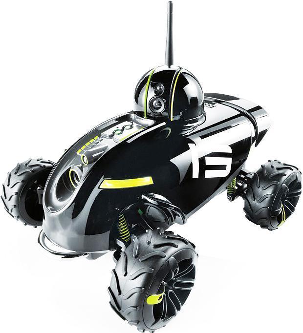 """Радиоуправляемая модель """"Шпионский внедорожник Rover Revolution"""" привлечет внимание не только ребенка, но и взрослого, и станет отличным подарком любителю шпионских снаряжений. Внедорожник изготовлен из прочного пластика и снабжен большими прорезиненными колесами с крупным протектором, что придает ему отличную проходимость и устойчивость во время движения. Управляется он с помощью устройств Android iOS: 4,3 и выше, iPad, iPad 2, iPad 3 и 4 поколения, iPad mini, iPhone 3GS, iPhone 4, iPhone 4S, iPhone 5, iPhone 5C, iPhone 5S, iPod toch 3,4 и 5 поколения через приложение для Rover Revolution, которое загружается с App Store или из Google Play (для Android устройств). Машинка создает свою собственную сеть Wi-Fi для связи с устройством без частотных помех, что позволяет управлять ей на расстоянии до 60 метров. Встроенный микрофон передает звуковой сигнал на ваше устройство в режиме реального времени, а передняя и вращающася видео-камеры снимают """"живое"""" видео и делают мгновенные..."""