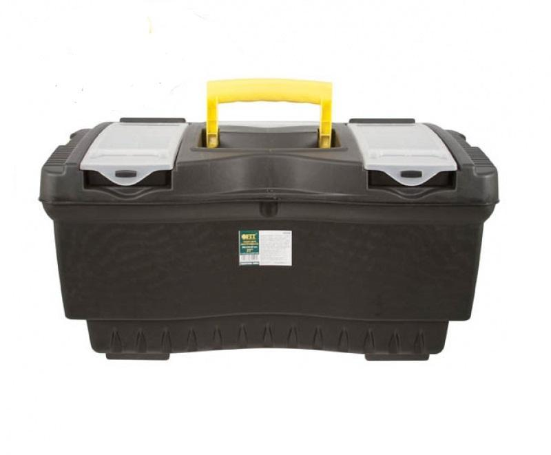 Ящик для инструментов FIT, 56 х 33 х 29 см80621Ящик для инструментов FIT изготовлен из прочного пластика и предназначен для хранения и переноски инструментов. Вместительный, имеет съемный лоток, большое отделение и две защелки, не допускающие случайного открывания. Для более комфортного переноса в руках, на крышке ящика предусмотрена удобная ручка.
