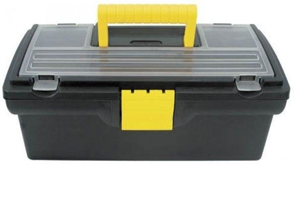 Ящик для инструментов пластиковый FIT, 40,5 см х 21,5 см х 16 см2706 (ПО)Ящик FIT 65501 используется для хранения и комфортной транспортировки различных инструментов, мелких деталей и крепежа. Данная модель отличается компактными габаритами и имеет длину по диагонали 16 дюймов. Также, ящик FIT 65501 изготовлен из пластика и оснащен удобным органайзером с крышкой для хранения мелких деталей и крепежа. Характеристики: Материал:пластик. Размеры ящика: 40,5 см х 21,5 см х 16 см. Глубина ящика: 11 см. Размеры лотка: 39 см х 18 см х 3,5 см. Размеры органайзеров: 36 см х 17 см х 2,5 см. Размеры упаковки: 40,5 см х 21,5 см х 16 см.