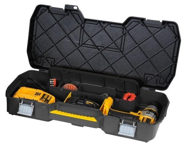 Ящик для инструмента с металлическими замками Stanley2706 (ПО)Stanley 1-70-737 - кейс для электроинструмента с металлическими замками. Он содержит отделение для хранения сверл, а также отделения с перегородками для мелких деталей и аксессуаров. Модель имеет интегрированную ручку для переноски Характеристики: Материал: пластик, металл. Размер ящика: 61 см х 31 см х 11 см. Размер упаковки: 61 см х 31 см х 11 см.