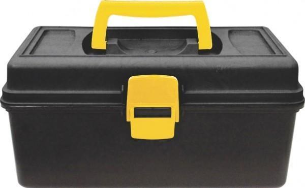 Ящик для инструмента Калита, 1320032-2_z01Ящик для инструмента Калита изготовлен из прочного пластика и предназначен для хранения и переноски инструментов. Вместительный, имеет большое внутреннее отделения и пластиковыю защелку, не допускающую случайного открывания. Для более комфортного переноса в руках, на крышке ящика предусмотрена удобная ручка. Характеристики: Материал:пластик. Размеры ящика: 31,5 см х 15 см х 18 см. Глубина ящика: 10 см. Размеры упаковки: 31,5 см х 15 см х 18 см.