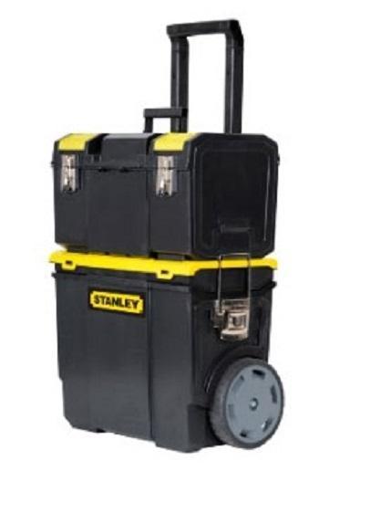 Ящик с колесами Mobile Work Center 3 в 198298123_черныйщик с колесами STANLEY Mobile Work Center 3 в 1 — это отличный ящик с колесами, который подойдет для электроинструмента «Mobile WorkCenter 2 в 1 и 3 в 1». Ящик сделан из пластмассы. В ящике вы найдете маленькие отделения для шурупов, винтов, гвоздей, бит, сверел и прочей мелочи. Этот ящик совмещает систему хранения и удобной транспортировки инструментов. Безопасная система фиксации ящиков и защиты от воды, пыли и грязи точно порадует вас. Ящики можно комбинировать и использовать только необходимые в конкретный момент. Материал: пластик