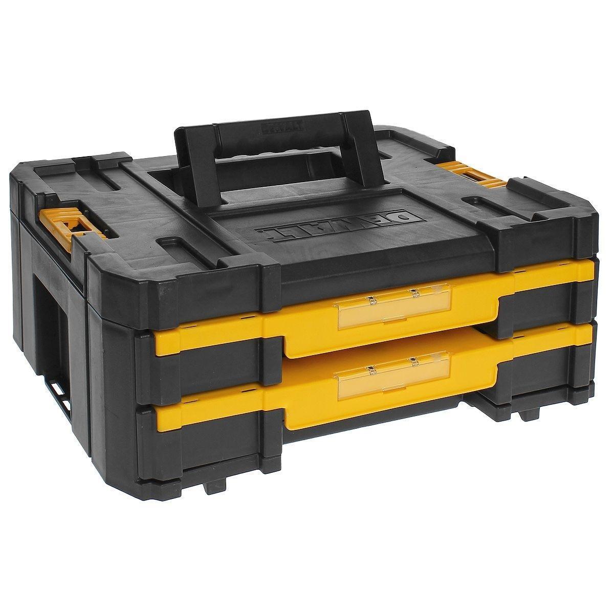 Ящик для инструмента DeWalt TSTAK IV, с двумя выдвижными секциями2706 (ПО)Для хранения принадлежностей, крепежа. Всегда все на своем месте.Передвижные разделители для оптимального формирования органайзера под сверла, биты, крепеж и др.Двухкомпонентная ручка сверху каждого блока гарантирует легкий и удобный подъем и переноскуВозможность наращивания: все блоки могут быть установлены один сверху другого. Прочные боковые защелки для надежной фиксации.Инновационный дизайн: прочный и жесткийГибкая платформа Mix&Match, которая позволяет создавать различные комбинации из ящиков.
