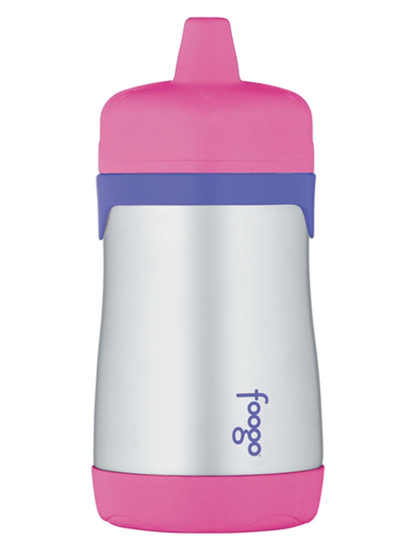 Термос-поильник Thermos Foogo, цвет: розовый, сиреневый, 290 млVT-1520(SR)Термос-поильник Thermos Foogo предназначен для детей в возрасте от 12 месяцев. Он изготовлен из высококачественной нержавеющей стали с применением технологии теплоизоляции Thermax, которая позволяет сохранять температуры продуктов и напитков. Термос держит тепло 7-8 часов, холод 10 часов.Особенности термоса-поильника Phases Foogo:- Позволяет сохранить продукты и напитки безопасными и полезными для здоровья малыша максимально долго;- Пластиковая завинчивающаяся крышка снабжена твердым носиком и легко очищаемым клапаном для защиты от протекания;- Твердый носик не изнашивается при прорезывании зубов;- Благодаря материалу корпуса поильник не выскальзывает из рук;- Все детали изделия можно безопасно мыть в посудомоечной машине на верхней полке.Все приспособления для питья Foogo Phases имеют взаимозаменяемые части, которые подходят для использования со всеми изделиями Phases, включая модели из пластмассы Eastman Tritan и нержавеющей стали. Благодаря возможности использовать взаимозаменяемые части продукция Phases растет вместе с вашим ребенком.Высота термоса-поильника (с учетом крышки и носика): 16 см.Диаметр основания термоса-поильника: 6,5 см.Диаметр горлышка: 5,2 см.Рекомендуемый возраст: от 12 месяцев.
