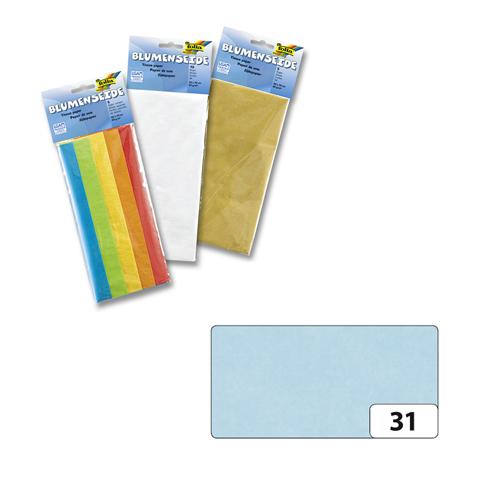 Бумага папиросная Folia, цвет: светло-голубой (31), 50 см х 70 см, 5 листов. 7708123_3119201Бумага папиросная Folia - это великолепная тонкая и эластичная декоративная бумага. Такая бумага очень хороша для изготовления своими руками цветов и букетов с конфетами, топиариев, декорирования праздничных мероприятий. Также из нее получается шикарная упаковка для подарков. Интересный эффект дает сочетание мягкой полупрозрачной фактуры папиросной бумаги с жатыми и матовыми фактурами: креп-бумагой, тутовой и различными видами картона. Бумага очень тонкая, полупрозрачная - поэтому ее можно оригинально использовать в декоре стекла, светильников и гирлянд. Достаточно большие размеры листа и богатая цветовая палитра дают простор вашей творческой фантазии. Размер листа: 50 см х 70 см.Плотность: 20 г/м2.