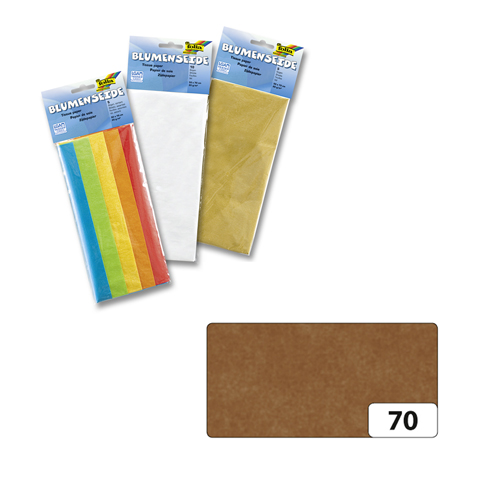Бумага папиросная Folia, цвет: коричневый (70), 50 см х 70 см, 5 листов. 7708123_7055052Бумага папиросная Folia - это великолепная тонкая и эластичная декоративная бумага. Такая бумага очень хороша для изготовления своими руками цветов и букетов с конфетами, топиариев, декорирования праздничных мероприятий. Также из нее получается шикарная упаковка для подарков. Интересный эффект дает сочетание мягкой полупрозрачной фактуры папиросной бумаги с жатыми и матовыми фактурами: креп-бумагой, тутовой и различными видами картона. Бумага очень тонкая, полупрозрачная - поэтому ее можно оригинально использовать в декоре стекла, светильников и гирлянд. Достаточно большие размеры листа и богатая цветовая палитра дают простор вашей творческой фантазии. Размер листа: 50 см х 70 см.Плотность: 20 г/м2.