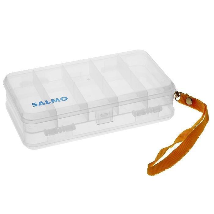 Коробка рыболовная Salmo 17. Double Sided, двухсторонняя, цвет: прозрачный1500-17Удобная коробка Salmo 17. Double Sided для хранения и транспортировки приманок и рыболовных принадлежностей позволит максимально защитить ее содержимое от попадания загрязнений и влаги.Коробка выполнена из пластика, является двусторонней и содержит два отделения, каждое из которых закрывается защитной крышкой. В одном отделении находятся 5 отсека, другое отделение отсеков не имеет. Благодаря своему небольшому размеру коробка компактна и не занимает много места. Также коробка оснащена съемным ремешком на карабине для транспортировки.