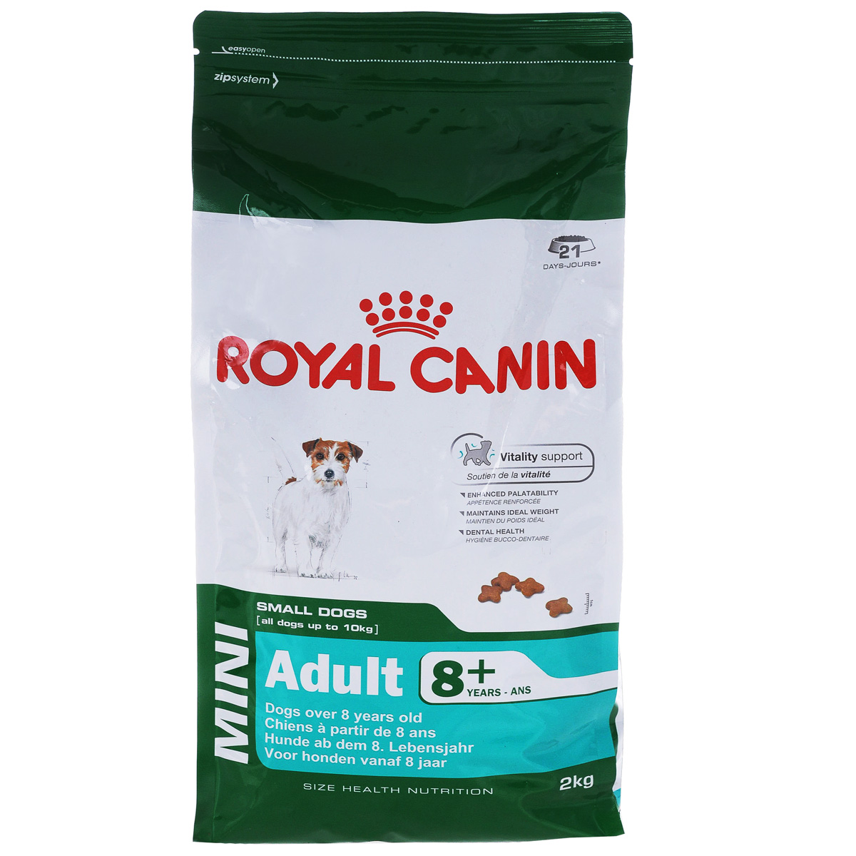 Корм сухой Royal Canin Mini Adult 8+, для собак весом до 10 кг старше 8 лет, 2 кг0120710Сухой корм Royal Canin Mini Adult 8+ является полнорационным кормом для стареющих собак (в возрасте 8 лет и старше) мелких размеров.Особенности корма Royal Canin Mini Adult 8+: обеспечивает поддержание оптимального веса; питает шерсть собаки; способствует прекрасному аппетиту; помогает сократить отложение зубного камня.Состав: кукуруза, рис, дегидратированное мясо птицы, животные жиры, кукурузная клейковина, кукурузная мука, гидролизат белков животного происхождения, изолят растительных белков, свекольный жом, минеральные вещества, дрожжи, соевое масло, рыбий жир, фруктоолигосахариды.Пищевые добавки на 1 кг: витамин А 22200 МЕ, витамин D3 1000 МЕ, железо 47 мг, йод 4,7 мг, марганец 60 мг, цинк 181 мг, селен 0,08 мг, L-карнитин 50 мг, триполифосфат натрия 3,5 г, консервант, антиокислители.Питательные вещества: белки 27%, жиры 16%, минеральные вещества 4,7%, клетчатка 1,5%, медь 15 мг/кг.Товар сертифицирован.
