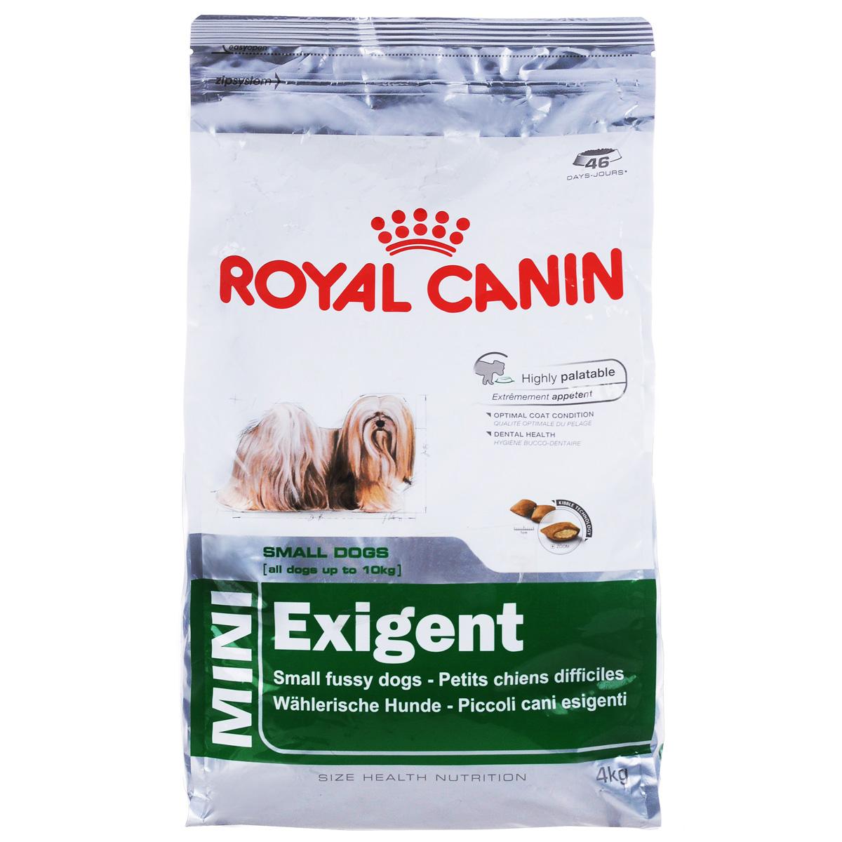 Корм сухой Royal Canin Mini Exigent, для собак мелких пород, привередливых в питании, 4 кг0120710Полнорационный сухой корм Royal Canin Mini Exigent для подходит собакам мелких размеров (вес взрослой собаки до 10 кг) старше 10 месяцев. Специальная технология изготовления крокет сочетает 2 вида текстур (хрустящую и мягкую), а также уникальные вкусовые добавки, что придется по вкусу даже самым привередливым собакам мелких размеров. Корм питает шерсть благодаря включению в состав корма серосодержащих аминокислот (метионин и цистин), жирных кислот Омега 6 и витамина А. Помогает замедлить образование зубного налета благодаря полифосфату натрия, который связывает кальций, содержащийся в слюне.Состав: дегидратированное мясо птицы, животные жиры, предварительно обработанная пшеничная мука, рис, изолят растительных белков L.I.P., гидролизат белков животного происхождения, кукурузная мука, растительная клетчатка, свекольный жом, рыбий жир, минеральные вещества, фруктоолигосахариды, масло огуречника аптечного 0,1%.Добавки в 1 кг: витамин А 29700 МЕ, витамин D3 800 МЕ, железо 45 мг, йод 4,5 мг, марганец 58 мг, цинк 175 мг, селен 0,09 мг, триполифосфат натрия 3,5 г, сорбат калия, пропилгаллат, БГА.Содержание питательных веществ: белки 30%, жиры 22%, минеральные вещества 4,1%, клетчатка пищевая 2,7%, EPA/DHA 2,5 г, медь 15 мг.Товар сертифицирован.