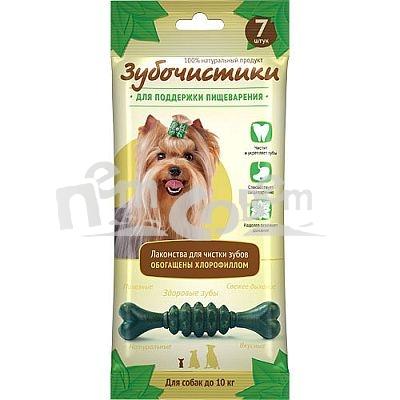 Лакомство Зубочистики Мятные для собак мелких пород, для поддержания пищеварения, 7 шт0120710Лакомство Зубочистики Мятные - это мультифункциональные лакомства для собак мелких пород, обладающие полезными для здоровья свойствами. Эти жевательные лакомства останавливают развитие кариеса и воспаления десен, отбеливают зубы и освежают дыхание. Благодаря наличию хлорофилла Зубочистики Мятные улучшают усвояемость сухих кормов, поддерживают здоровую кишечную флору, активизируют выведение токсинов и усиливают иммунную систему организма. К тому же, собакам нравится их вкус. Состав: пшеничный протеин, пептиды протеина, клетчатка, глицерин, казеинат натрия, моностеарин, хлорофилл, пивные дрожжи, стеарат магния, эфирные масла, натуральные вкусовые добавки (мята).Гарантированные показатели: белок 47,43%, влага 13%, зола 1,52%, жиры 7,62%, кальций 0,059%, клетчатка 0,49%.Рекомендация по применению: для собак до 10 кг 1 лакомство в день.Товар сертифицирован.