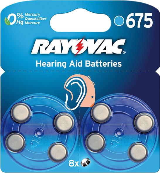 Батерейки Varta Rayovac 675 для слуховых аппаратов, 8 шт37620Батарейки Varta Rayovac 675 специально разработаны для надежной работы в чувствительных слуховых аппаратах. Обладают большой емкостью, не содержат токсичных веществ, имеют длительный срок хранения. Конструкция элемента предусматривает специальную наклейку-ярлычок, исключающую доступ воздуха до момента эксплуатации. Соблюдать полярность. Не перезаряжать. Не вскрывать. Размер батарейки: 1,1 см х 0,5 см. Тип элемента питания: воздушно-цинковый. Вес: 1,8 г.