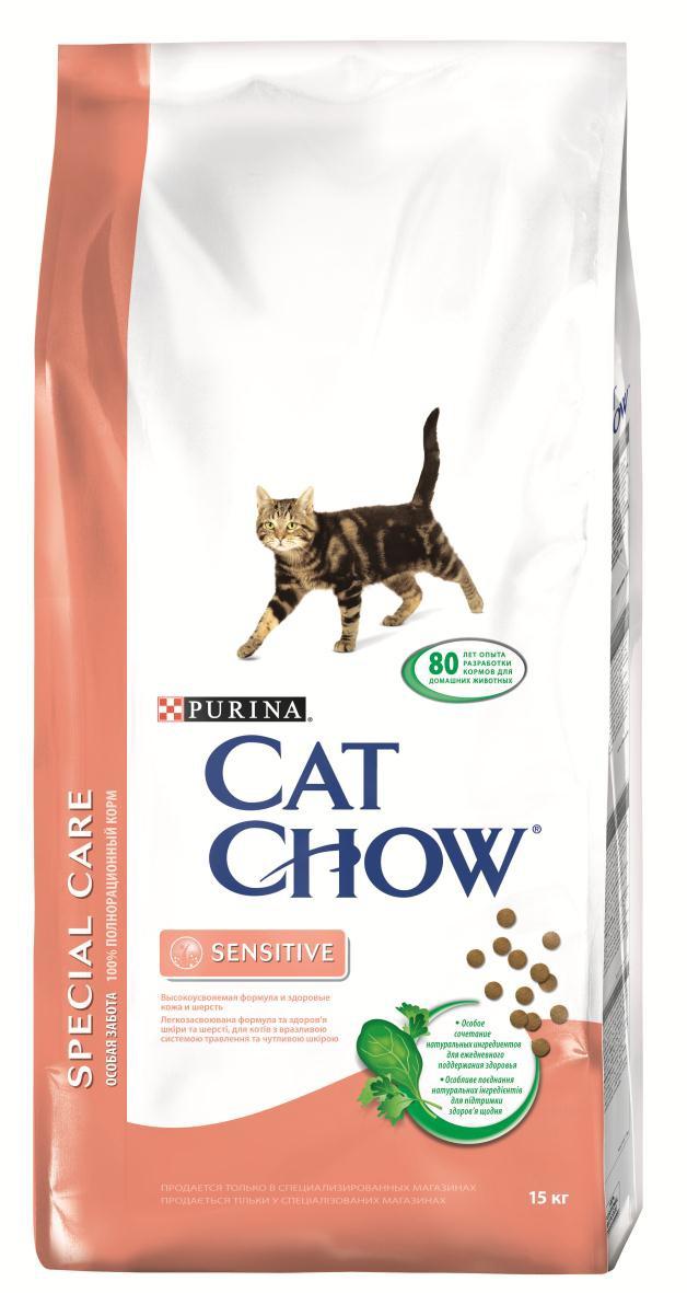 Корм сухой Cat Chow Special Care для кошек с чувствительным пищеварением, 15 кг12147057Корм сухой Cat Chow Special Care - полнорационный корм для кошек с чувствительным пищеварением, для здоровья кожи и шерсти. Сама природа вдохновляет компанию PURINA на разработку кормов, которые максимально отвечают потребностям ваших питомцев, с учетом их природных инстинктов. Имея более чем 80-ти летний опыт в области питания животных, PURINA создала новый корм Cat Chow - полностью сбалансированный корм, который не только доставит удовольствие вашей кошке, но и будет полезным для ее здоровья. Особенности корма Cat Chow Special Care:Высокое содержание мяса, с источниками высококачественного белка в каждой порции для поддержания оптимальной массы тела. Особое сочетание натуральных ингредиентов: тщательно отобранные травы и овощи (петрушка, шпинат, морковь, горох). Отборные ингредиенты придают особый аромат. Высокое содержание витамина Е для поддержания естественной защиты организма питомца. Содержит мякоть свеклы и цикорий для поддержания здорового пищеварения и уменьшения запаха от туалетного лотка. Специально разработанная формула: высокая усвояемость благодаря высококачественному белку, здоровые кожа и шерсть благодаря витаминам и Омега-3 и Омега-6 жирным кислотам. Состав: злаки, мясо и субпродукты (мясо 14%), экстракт растительного белка, масла и жиры, овощи (сухой корень цикория 2%, морковь 1,3%, шпинат 1,3%, зеленый горох 1,3%), продукты переработки овощей (сухая мякоть свеклы 2,7%, петрушка 0,4%), рыба и продукты переработки рыбы, минеральные вещества, дрожжи. Добавленные вещества (на 1 кг): витамин А 13500 МЕ; витамин D3 1150 МЕ; витамин Е 100 МЕ, железо 50 мг; йод 1,1 мг; медь 9 мг; марганец 5 мг; цинк 70 мг; селен 0,05 мг. С антиокислителями. Гарантируемые показатели: белок 36%, жир 14%, сырая зола 7,5%, сырая клетчатка 1,5%, Омега-3 жирные кислоты 0,2%, Омега-6 жирные кислоты 2,2%.Товар сертифицирован.