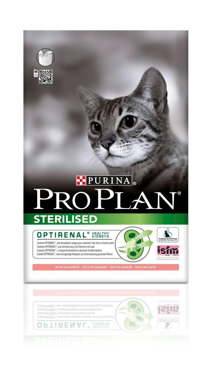 Корм сухой Pro Plan Sterilised для взрослых стерилизованных кошек и кастрированных котов, с лососем, 1,5 кг0120710Сухой корм Pro Plan Sterilised - это полноценный рацион для взрослых стерилизованных кошек и кастрированных котов. Он содержит особую разработанную с участием ученых комбинацию ингредиентов для поддержания здоровья вашего питомца в течение продолжительного времени. Корм с высококачественным белком и низким содержанием жира, сочетающий все необходимые питательные вещества, включая витамины А, С и Е, а также Омега-3 и Омега-6 жирные кислоты. Обеспечивает баланс pH мочи. Особенности сухого корма: поддерживает здоровье мочевыводящей системы стерилизованных кошек и кастрированных котов, предотвращая риск развития заболевания нижнего отдела мочевыводящих путей,помогает защищать зубы от образования налета и зубного камня,помогает поддерживать здоровый вес,содержит уникальную формулу для поддержания здоровья почек.Состав: лосось (20%), сухой белок птицы, кукурузный глютен, рис, кукуруза, концентрат горохового белка, пшеничная клетчатка, яичный порошок, пшеничный глютен, минеральные вещества, животный жир, вкусоароматическая кормовая добавка, дрожжи. Анализ: белок: 41%, жир: 12%, сырая зола: 7%, сырая клетчатка: 4,5%.Добавки на кг: витамин А: 35 000; витамин D3: 1100; витамин Е: 900 мг/кг; железо: 235; йод: 3; медь: 47; марганец: 105; цинк: 397; селен: 0,27 мг/кг.Товар сертифицирован.