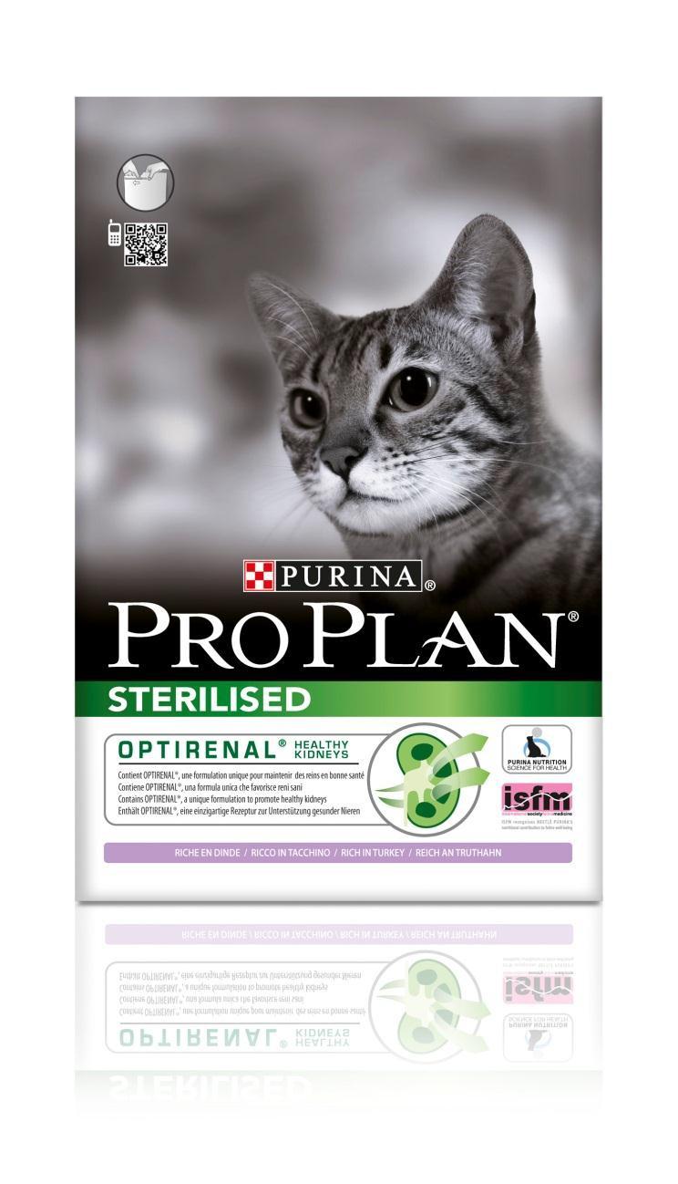 Корм сухой Pro Plan Sterilised для взрослых стерилизованных кошек и кастрированных котов, с индейкой, 1,5 кг0120710Сухой корм Pro Plan Sterilised - это полноценный рацион для взрослых стерилизованных кошек и кастрированных котов. Он содержит особую разработанную с участием ученых комбинацию ингредиентов для поддержания здоровья вашего питомца в течение продолжительного времени. Корм с высококачественным белком и низким содержанием жира, сочетающий все необходимые питательные вещества, включая витамины А, С и Е, а также Омега-3 и Омега-6 жирные кислоты. Обеспечивает баланс pH мочи. Особенности сухого корма: поддерживает здоровье мочевыводящей системы стерилизованных кошек и кастрированных котов, предотвращая риск развития заболевания нижнего отдела мочевыводящих путей,помогает защищать зубы от образования налета и зубного камня,помогает поддерживать здоровый вес,содержит уникальную формулу для поддержания здоровья почек.Состав: индейка (20%), кукурузный глютен, рис, сухой белок птицы, кукуруза, концентрат горохового белка, пшеничный глютен, пшеничная клетчатка, яичный порошок, минеральные вещества, животный жир, рыбий жир, вкусоароматическая кормовая добавка, дрожжи. Анализ: белок: 41%, жир: 12%, сырая зола: 7%, сырая клетчатка: 4,5%.Добавки на кг: витамин А: 35 000; витамин D3: 1100; витамин Е: 900 мг/кг; железо: 60; йод: 1,9; медь: 12; марганец: 15; цинк: 145; селен: 0,12 мг/кг.Товар сертифицирован.