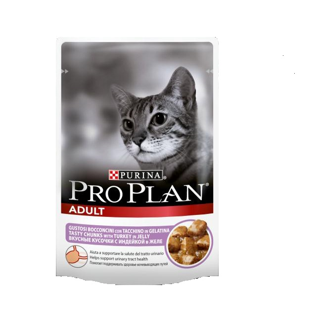 Консервы Pro Plan Adult для взрослых кошек, с индейкой, 85 г0120710Консервы полнорационные Pro Plan Adult со вкусом, который нравится кошкам, содержит все питательные вещества, включая витамины и минеральные вещества, необходимые для полнорационного питания кошек.Состав: мясо и мясные субпродукты (в том числе индейка 4%), рыба и рыбные субпродукты, минеральные вещества, различные сахара.Добавленные вещества (МЕ/кг): витамин А 1035, витамин D3 145, мг/кг: железо 30, йод 0,58, медь 3,7, марганец 5,3, цинк 73, селен 0,049.Гарантированные показатели: влажность 83, белок 8,5, жир 4,2, сырая зола 2,3, сырая клетчатка 0,4.Товар сертифицирован.