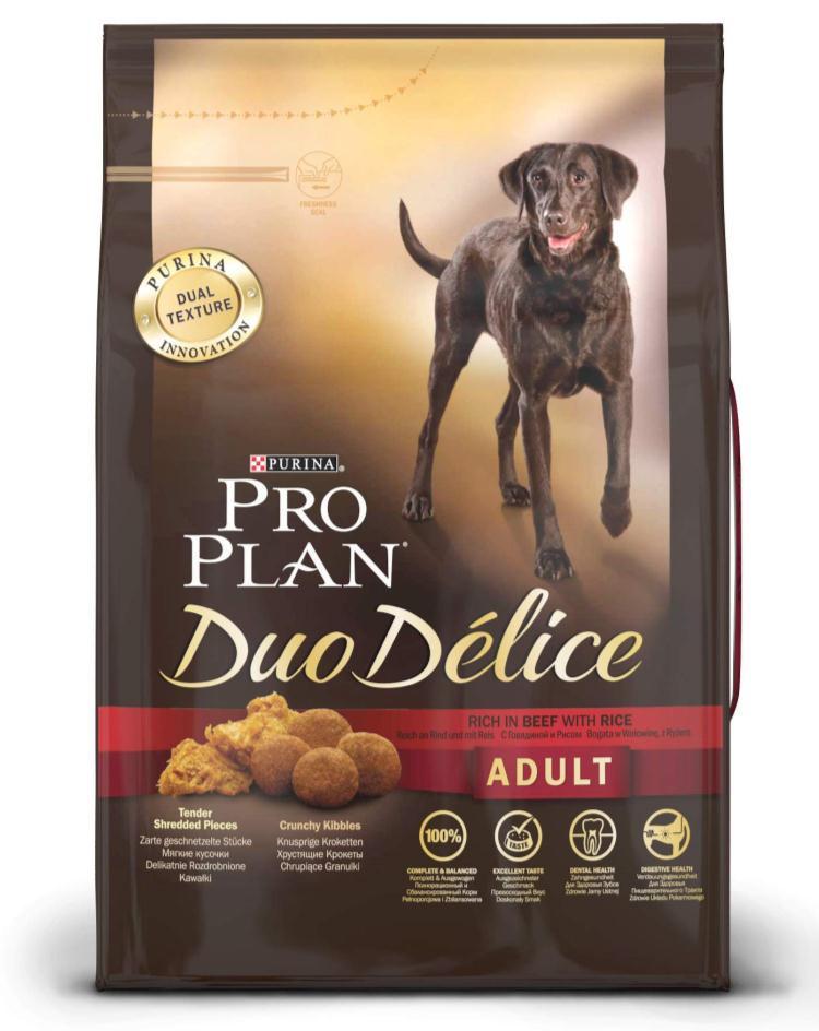 Корм сухой для собак Pro Plan Duo Delice, с говядиной и рисом, 2,5 кг15873Сухой корм Pro Plan Duo Delice - это полнорационный корм для взрослых собак, с говядиной и рисом. Корм обеспечивает правильный баланс питательных веществ для поддержания здоровья и хорошего самочувствия взрослых собак. Тщательно отобранные ингредиенты и специально разработанный процесс приготовления обеспечивают высокую усвояемость корма, благодаря чему собаки получают необходимые им питательные вещества. Собаки обожают инновационное сочетание хрустящих крокет и мягких кусочков, в которых основным ингредиентом является говядина. Уникальное сочетание хрустящих крокет и мягких кусочков побуждает собаку с удовольствием пережевывать корм. Механическое воздействие хрустящих крокет на зубы вашей собаки, действует как зубная щетка, тем самым способствует уменьшению отложения зубного камня. Содержащаяся в корме клетчатка помогает поддерживать здоровье пищеварительного тракта, помогает улучшить качество стула, а белок из специально выбранных ингредиентов легко усваивается организмом собаки. Состав: говядина (17%), пшеница, кукуруза, сухой белок птицы, животный жир, пшеничный глютен, сухая мякоть свеклы, кукурузная крупа, рис (4%), минеральные вещества, вкусоароматическая кормовая добавка, пропиленгликоль, яичный порошок, рыбий жир, солодовая мука. Добавленные вещества (на 1 кг): витамин А 28200 МЕ; витамин D3 920 МЕ; витамин Е 610 МЕ; витамин С 220 мг; моногидрат сульфата железа 220 мг; йодат кальция 2,9 мг; сульфат медь 45 мг; моногидрат сульфата марганца 90 мг; моногидрат сульфата цинка 380 мг; селенит натрия 0,27 мг. Технологические добавки: экстракт токоферолов натурального происхождения 50 мг/кг. Гарантируемые показатели: белок 25%, жир 16%, сырая зола 8%, сырая клетчатка 2%, омега-3 жирные кислоты 0,3%, омега-6 жирные кислоты 1,6%. Товар сертифицирован.