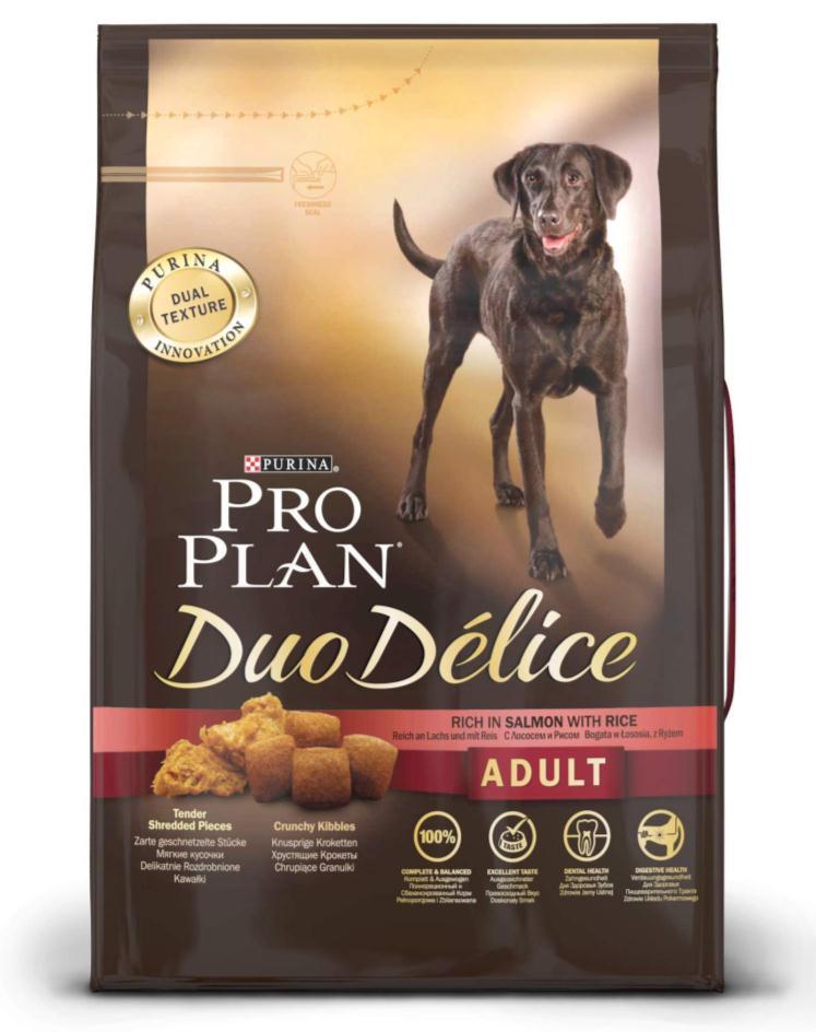 Корм сухой для собак Pro Plan Duo Delice, с лососем и рисом, 2,5 кг0120710Сухой корм Pro Plan Duo Delice - это полнорационный корм для взрослых собак, с лососем и рисом. Корм обеспечивает правильный баланс питательных веществ для поддержания здоровья и хорошего самочувствия взрослых собак. Тщательно отобранные ингредиенты и специально разработанный процесс приготовления обеспечивают высокую усвояемость корма, благодаря чему собаки получают необходимые им питательные вещества. Собаки обожают инновационное сочетание хрустящих крокет и мягких кусочков, в которых основным ингредиентом является лосось. Уникальное сочетание хрустящих крокет и мягких кусочков побуждает собаку с удовольствием пережевывать корм. Механическое воздействие хрустящих крокет на зубы вашей собаки, действует как зубная щетка, тем самым способствует уменьшению отложения зубного камня. Содержащаяся в корме клетчатка помогает поддерживать здоровье пищеварительного тракта, помогает улучшить качество стула, а белок из специально выбранных ингредиентов легко усваивается организмом собаки. Состав: лосось (15%), пшеница, кукуруза, сухой белок птицы, животный жир, пшеничный глютен, сухая мякоть свеклы, кукурузная крупа, рис (4%), минеральные вещества, вкусоароматическая кормовая добавка, пропиленгликоль, яичный порошок, рыбий жир, солодовая мука. Добавленные вещества (на 1 кг): витамин А 28200 МЕ; витамин D3 920 МЕ; витамин Е 610 МЕ; витамин С 220 мг; моногидрат сульфата железа 220 мг; йодат кальция 2,9 мг; сульфат медь 45 мг; моногидрат сульфата марганца 90 мг; моногидрат сульфата цинка 380 мг; селенит натрия 0,27 мг. Технологические добавки: экстракт токоферолов натурального происхождения 40 мг/кг. Гарантируемые показатели: белок 25%, жир 16%, сырая зола 8%, сырая клетчатка 2%, омега-3 жирные кислоты 0,5%, омега-6 жирные кислоты 1,8%. Товар сертифицирован.