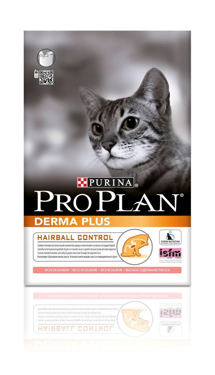 Корм сухой Pro Plan Derma Plus для кошек с проблемами кожи и шерсти, с лососем, 10 кг0120710Сухой корм Pro Plan Derma Plus - это полноценный рацион для взрослых кошек с проблемами кожи и шерсти. Он содержит особую разработанную с участием ученых комбинацию ингредиентов для поддержания здоровья вашего питомца в течение продолжительного времени. Особенности сухого корма: формула для чувствительной кожи,высокие вкусовые свойства,делает шерсть шелковистой и блестящей,помогает снижать чрезмерное выпадение шерсти.Состав: лосось (16%), кукурузный глютен, пшеница, концентрат горохового белка, кукуруза, животный жир, пшеничный глютен, сухой белок лосося, сухая мякоть свеклы, яичный порошок, минеральные вещества, сухой корень цикория, вкусоароматическая кормовая добавка, дрожжи. Анализ: белок: 36%, жир: 16%, сырая зола: 6,5%, сырая клетчатка: 6%.Добавки на кг: витамин А: 32 600; витамин D3: 1060; витамин Е: 720 мг/кг; железо: 60; йод: 1,9; медь: 11; марганец: 15; цинк: 150; селен: 0,12 мг/кг.Товар сертифицирован.